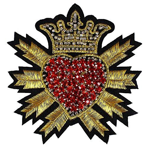 2Perlen Kristall Rot Diamant Herz Krone Patches Gold Badge Stickerei Aufnäher Sew auf geprägter Kleidung Craft Nähen th756