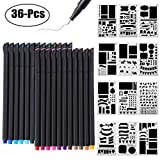 #4: Bullet Journal Supplies, 24 Color Fineliner Pens and 12PCS Bullet Journal Stencil Notebook Diary Scrapbook DIY Drawing Templates Plastic Planner Kit