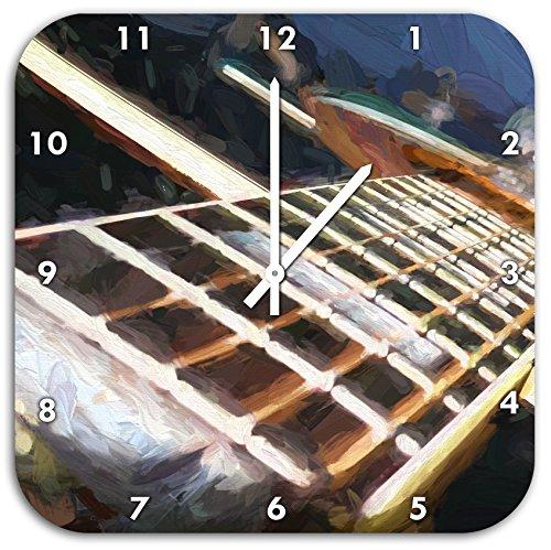 Stil.Zeit Gitarrensaiten Pinsel Effekt, Wanduhr Quadratisch Durchmesser 48cm mit weißen Spitzen Zeigern und Ziffernblatt