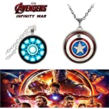 (2 Pcs AVENGER SET) - IRON MAN ARC REACTOR SILVER (SLV2) 3D GLASS DOME PENDANT & CAPTAIN AMERICA REVOLVING IMPORTED PENDANT WITH CHAIN. LADY HAWK DESIGNER SERIES 2018. ❤ LATEST ARRIVALS - NOW ON SALE IN AMAZON - RINGS, KEYCHAINS, NECKLACE, BRAC