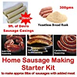 British Home Sausage making starter pack consisting of Yeastless Rusk, 28mm Sausage Skins, 3 Seasonings and full recipe instructions. Ideal for the beginner with their own manual or electric mincer with a sausage stuffer attachment. Boxed to make a unique Birthday or Father's Day Gift!