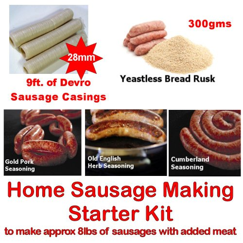 Price comparison product image British Home Sausage making starter pack consisting of Yeastless Rusk, 28mm Sausage Skins, 3 Seasonings and full recipe instructions. Ideal for the beginner with their own manual or electric mincer with a sausage stuffer attachment. Boxed to make a unique Birthday or Father's Day Gift!