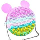 ruixin Fidget Bubble Sac à bandoulière - Pop it Sensory Toy Bag, Silicone Push Bubble Messenger Bag Mode Rainbow Stress-Relie
