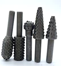 Tools Centre 630-13 Hot 5 Pieces Rotary Rasp File Set 1/4 Inch Shank Rotary Rasp Shank Woodworking Drill Bits Hss Wood Carving Rotary File Pitcher