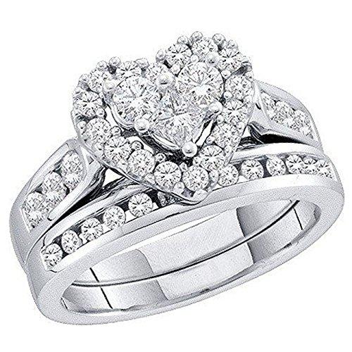 4-ring-diamant-herz 1 (Damen Ring / Verlobungsring 1.04 Karat 14 Karat Weißgold Rund & Princess Schnitt Weiß Diamant Herz 1 Karat)