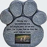 Paw Print Pet piedra conmemorativa para–-dispone de un marco para fotos y Condolencias Poema. Hecha de resina impermeable. Interior/exterior. De Gato o perro. Para Jardín, Patio, o de casa