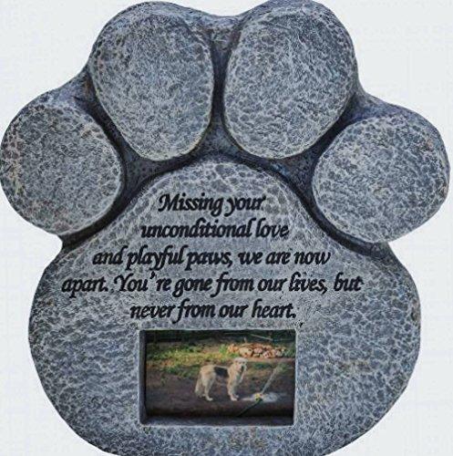 Paw Print Pet Gedenk Stein –-Features ein Foto Rahmen und Mitgefühl Gedicht. Aus wetterfestem Kunstharz. Indoor/Outdoor. Hunde oder Katzen. Für Garten, Hof, oder Haus (Foto Hund Haus)