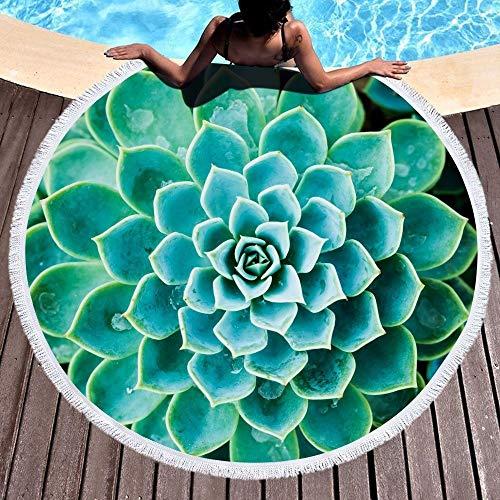 SATAJNN Telo Mare Moda pianta grassa 450G in Microfibra Telo da Bagno Rotondo Spiaggia 150 cm Picnic Yoga Coperta stuoia Quadrifoglio Borsa da Viaggio