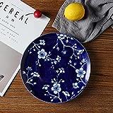YUWANW Klassische Blaue und Weiße Keramik-Schale Obst Nachtischtellers Underglaze Scheibe Teller Teller Chinesische Art-Deco-Platte, Weiße Pflaumen