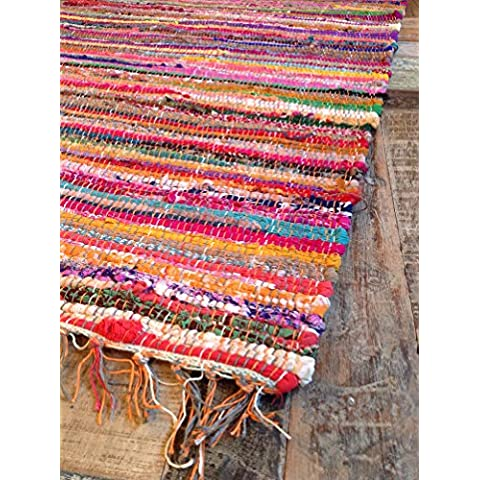 Commercio equo Multicolore chindi Rag Tappeto cm 80x (Riciclata Rag Tappeti)
