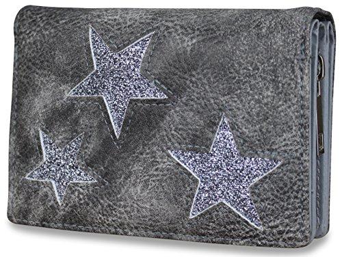 Damen Luxus Glitzer Stern Geldbörse Geldbeutel Brieftasche Portemonnaie Damenbörse Börse (Dunkelgrau)