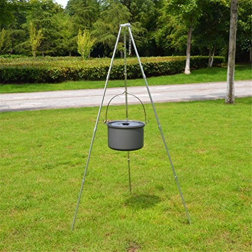 BrilliantDay 42-inch Height Portable Tripod Grilling Set - Outdoor Picnic Camping BBQ Cooking Hanger