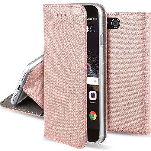 Moozy Hülle Flip Case für Huawei P8 Lite 2017, Rose Gold - Dünne Magnetische Klapphülle Handyhülle mit Standfunktion