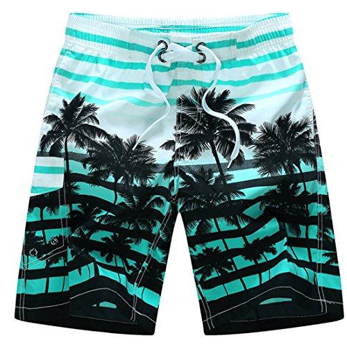Men's Flower Plaid Stripe Star Many styles Couple Causal Beach Shorts blue