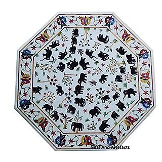 Gifts And Artefacts 76,2cm Octagon weiß Marmor Luxus Couchtisch Top Einlage schwarz Elefant Blumen Design