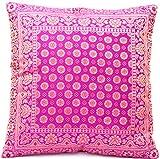 Rani Rosa Farbe (Rani Pink) Indische Seide Deko Kissenbezüge 40 cm x 40 cm, Extravaganten Design für Sofa & Bett Dekokissen, Kissenhülle aus Indien. Angebot gültig bis zum Ende des Monats