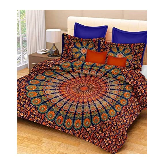 Bedsheet Fashion Hub Mandala Cotton Double Bed Size Bedsheet/Bedspread/Tapestry for Wall Hanging Decoration Without Pillow Cover (Red) (82x90 Inches)