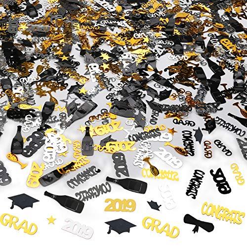 Konfetti, Glückwunsch Graduation Kleiner Doktorhut Konfetti Tischdeko Bachelor Promotion Geschenk 2019 Abschluss Deko, Gold Schwarz, 1500 Teile ()