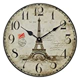NIKKY HOME Runde Wanduhr Retro-Stil Vintage Paris Tour Eiffel 1887 Frankreich handgemachte dekorative Holz 30CM