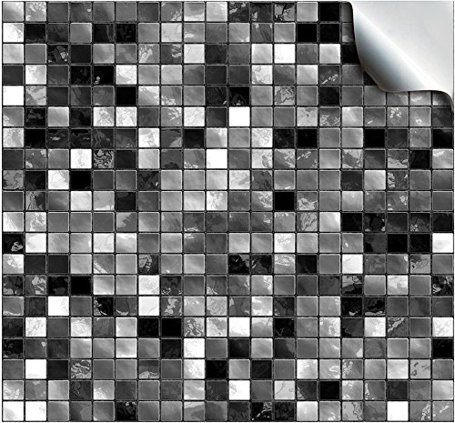 24 Black and White - Printed in 2d Kitchen / Bathroom Tile STICKERS For 150mm (TP3 - 6 inch) Square Tiles – Directly From: TILE STYLE DECALS, No Middleman (Full Pack of 24)