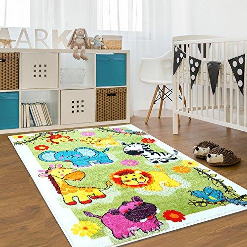 Kinderteppich Moda Wiese Bunt Grün Gelb Türkis Kinderzimmer Öko Tex 120x160 cm