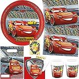 Cars 3 McQueen Partyset 76tlg. für 12 Kinder Teller Becher Servietten Einladung Tüten