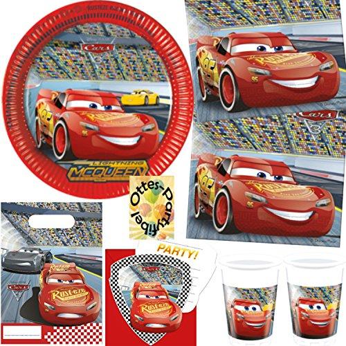 HHO Cars 3 McQueen Partyset 76tlg. für 12 Kinder Teller Becher Servietten Einladung Tüten (Geburtstag Party Cars)