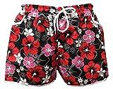 A-Express Rot & Schwarz Damen Badeshorts Sommer Blumen Shorts Surfen Blumenmuster Strand Hose Größe 36-38