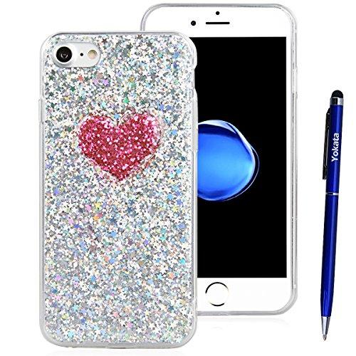 iPhone 7 Hülle, Yokata Liebe Herzen Motiv Klar Transparent Durchsichtig Weich TPU Silikon Gel Glitzer Bling Case Cover mit Bumper Schutzhülle Dünne Handyhülle + 1 X Stylus Pen - Silber Silber
