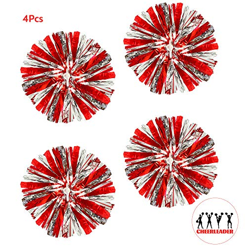 AUHOTA 4 Stück Metallfolie Cheerleading Pom Poms, Cheerleader Pompons Handblumen zum Sport Cheers Ball Dance Kostüm Nacht Party Team Spirit (6 Zoll) - Dance Team Kostüm Accessoires