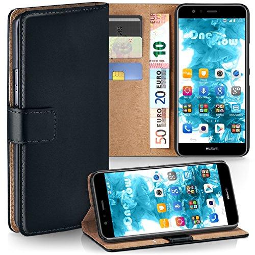 Huawei P10 Lite Hülle Schwarz mit Karten-Fach [OneFlow 360° Book Klapp-Hülle] Handytasche Kunst-Leder Handyhülle für Huawei P10 Lite Case Flip Cover Schutzhülle Tasche