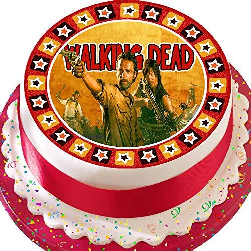 Tortenaufsatz aus Zuckerguss, mit Motiv von Rick und Daryl aus der Serie The Walking Dead, vorgeschnitten, essbar, 19,1 cm, rund
