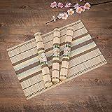 Bamboo Table Mats/Place Mats/Dinning Mats/Kitchen Place Mats/Dinner Mats, 30x40cm, 6 Piece Set(BM1X6456 B2-Natural)