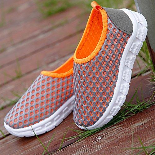 Scothen Chaussures plates maille souple antidérapants enfants semelles ultra-légères sandales été respirant baskets en plein air unisexe Filles Garçons Grey