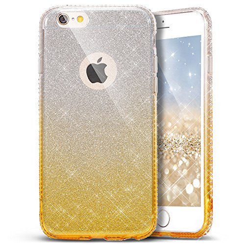Custodia Cover per iPhone 6 plus iPhone 6S plus Case ,Ukayfe 2 in 1 Ultra Slim Casa per iPhone 6 plus iPhone 6S plus,Protettiva Custodia stampato Design PC+ Silicone ibrido impatto grande Difensore cu Gradiente-oro