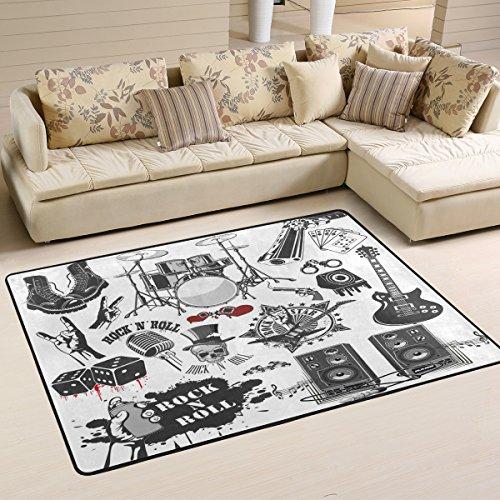 coosun Symbole Verwandte zu Rock und Roll Bereich Teppich Teppich rutschfeste Fußmatte Fußmatten für Wohnzimmer Schlafzimmer 91.4 x 61 cm, Textil, multi, 36 x 24 inch