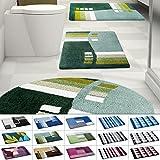Design Badematte | rutschfester Badvorleger | viele Größen | zum Set kombinierbar | Öko-Tex 100 zertifiziert | viele Muster zur Auswahl | Welle - Grün (50 x 60 cm)