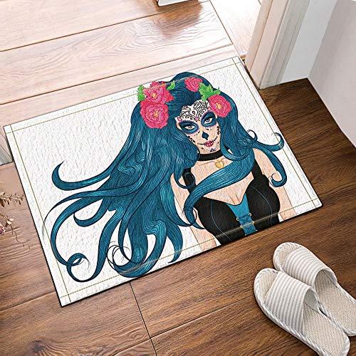 fdswdfg221 Halloween Decor Girl with Makeup Mexican Sugar Skull and Flowers in Long Hair Bath Rug Non-Slip Floor Entryways Outdoor Indoor Front Door Mat, Bath Mat Bathroom Rugs