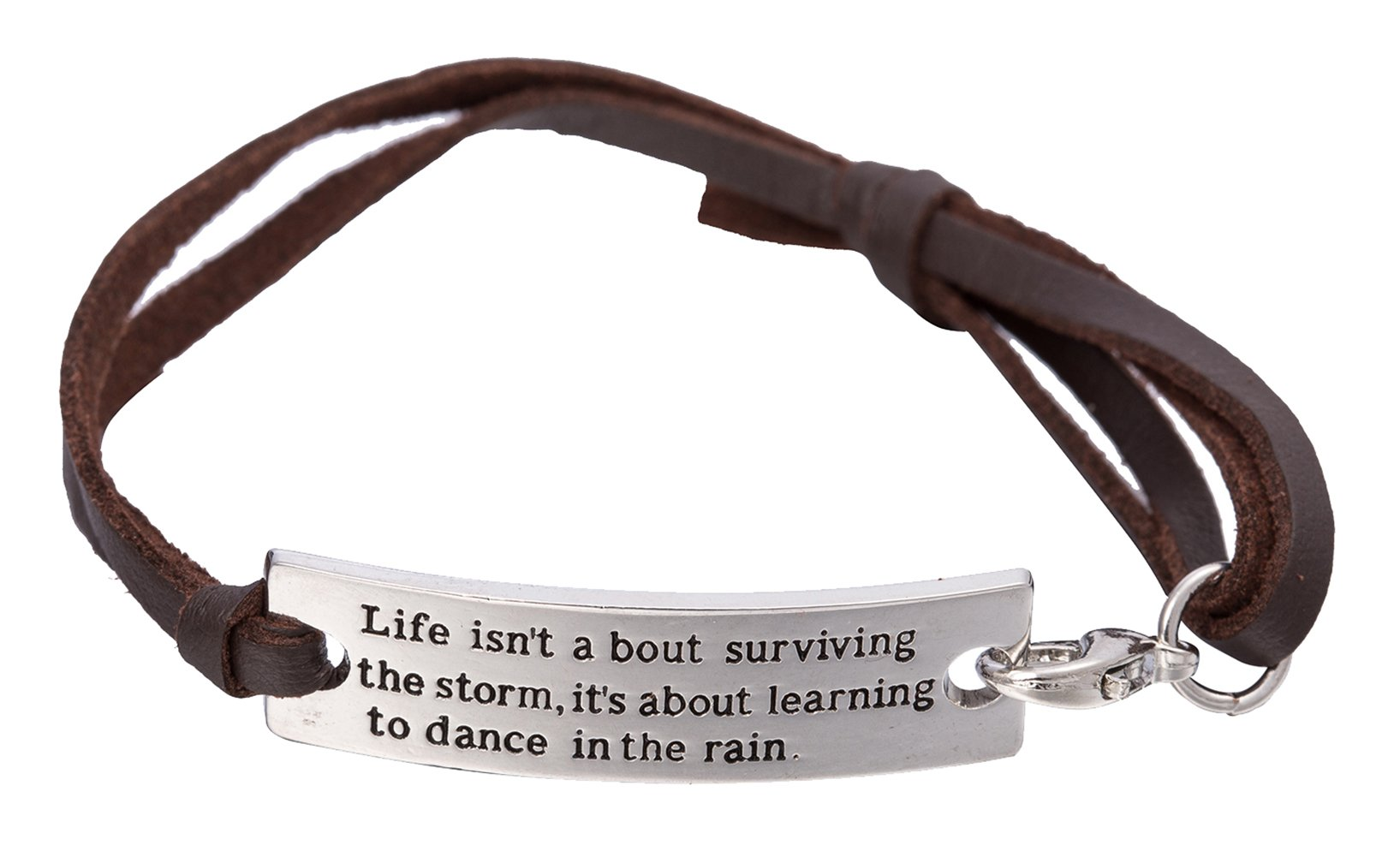 "Lemegeton ""Life Isn't About Surviving The Storm. Metal Connector Inspirational Message Words Leather Bracelet Jewelry for Women"