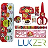 Lukzer 10 in 1 Mix Stationery Set for kids with 1 Pencil box,1 Mini cute Diary,2 Pencils,2 Pencil hats,1 Eraser,1 Sharpener,1 Ruler,1 Student scissor,Random Colour