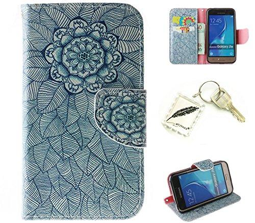 Silikonsoftshell PU Hülle für Samsung Galaxy J1 (2016) /J120 (4,5 Zoll) Tasche Schutz Hülle Case Cover Etui Strass Schutz schutzhülle Bumper Schale Silicone case(+Exquisite key chain X1)#AZ (5)