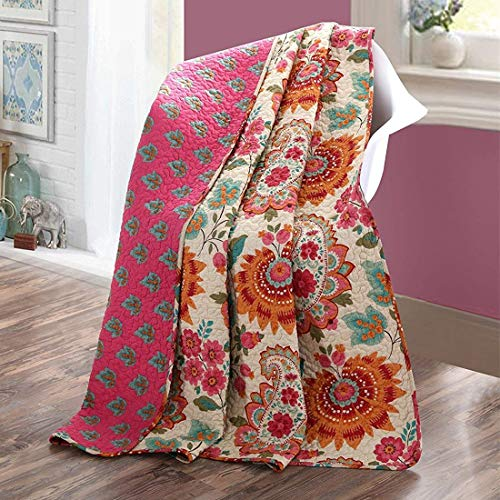 Unimall zweiseitige Tagesdecke Bettüberwurf Sommer gefüllt mit 100% Bio Baumwolle Paisley Modern Muster 150 x 200 cm