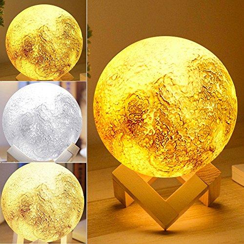 Preisvergleich Produktbild Moon Lamp,  Sayou® 3D Bedruckte Mondlampe / Nachtlicht / Mond Lampe Nachtlampe / Tischlampen ,  Geschenk für Freunde Auf Weihnachten Und Geburtstag (5.1 Inch)
