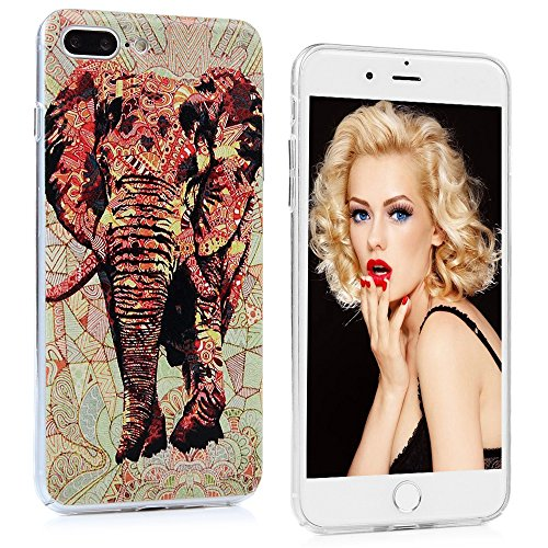 YOKIRIN iPhone 7 Hülle iphone 7 PC Hard Case Cover Bunt Painted Gemalt Transparent Rand Schutzhülle Handy Case Hartschale Skin Muster:Elefant Elefant