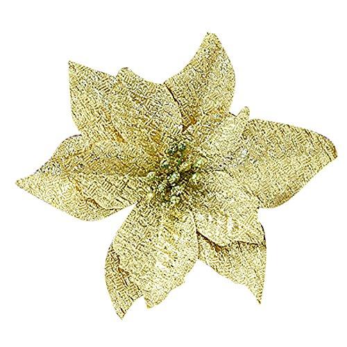 ZahuihuiM Wohnaccessoires & Dekoration Künstliche Gefälschte Blumen 1 Stück Flanell Floral Balkon Wand Esstisch Decor Für Halloween Weihnachtsbaum Decor Festival-Verzierung (13 * 14 * 5cm, Gold)