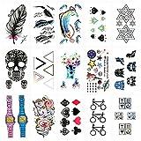 Oottati 15 Blätter Kleine Nette Temporäre Tattoos Feder Diamant Schädel Dreieck Rotwild Einhorn Uhr Schürhaken Karten Fahrrad Logo