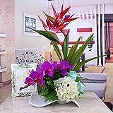 Jnseaol Kunstblumen Künstliche Blumen Wohnzimmer Schlafzimmer Hochzeit Party Küche Dekoration Keramik Topf Urlaub Geschenk Rot -01
