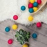Kledio LED Textillichterkette mit 15 Kugeln aus Baumwolle | Kinder Lichterkette mit Textilkugeln | mit Timer | ideal für Kinderzimmer oder Kindergeburtstag (petrol/magenta/gelb)