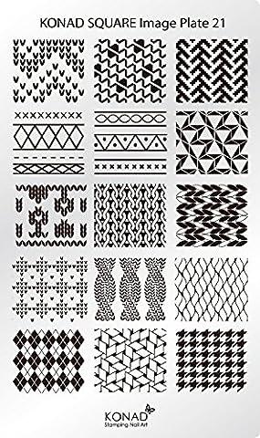 Original Konad square image Pochoir Plate 21Nail Art abstrait Bandes à carreaux style rétro