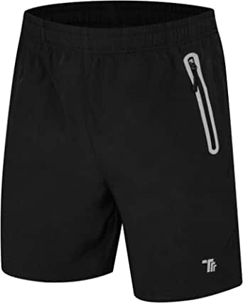 donhobo Men's Quick Dry Sports Shorts Running GYM Training Reflective Shorts With Zip Pockets